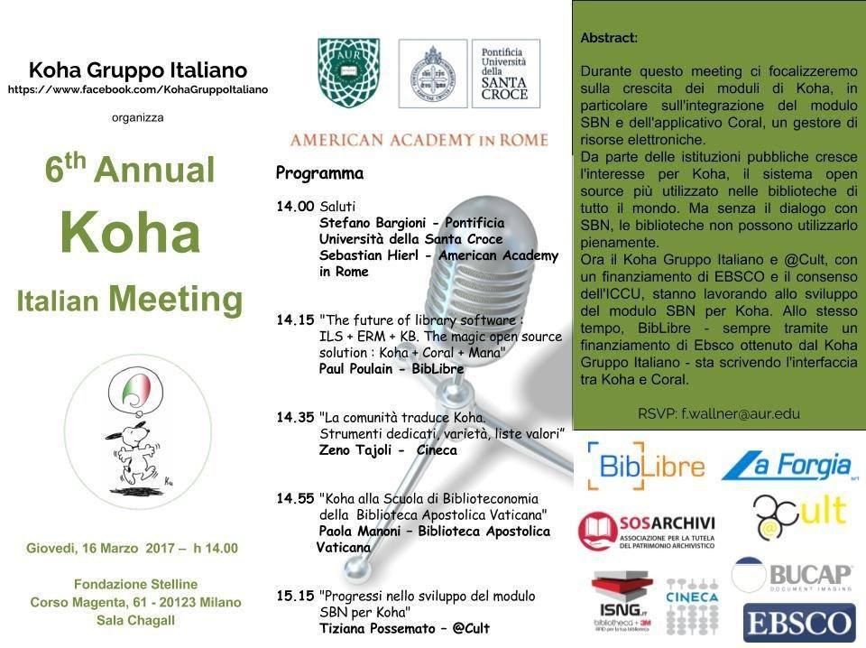 6th Annual Koha Italian Meeting – 16 marzo 2017