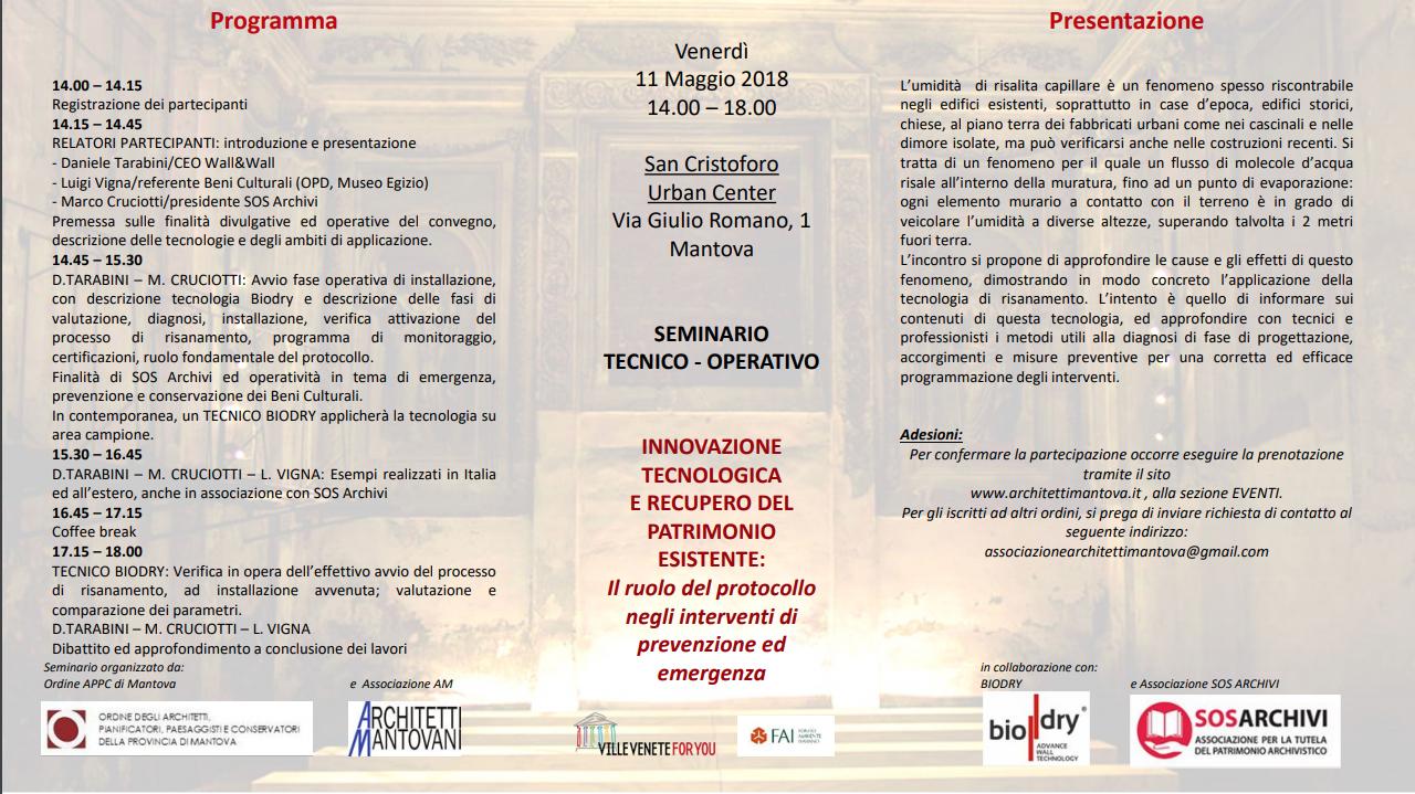 Mantova, 11 maggio – Innovazione tecnologica e recupero del patrimonio esistente